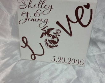 USMC love ~ Marine wife ~ Marines canvas ~ personalized ~ Marines ~ USMC wife ~ Marine Corps