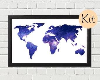 World Map Cross Stitch Kit, World Map xstitch Kit, World Map Embroidery Kit, Galaxy Cross Stitch Pattern, Blue, Purple