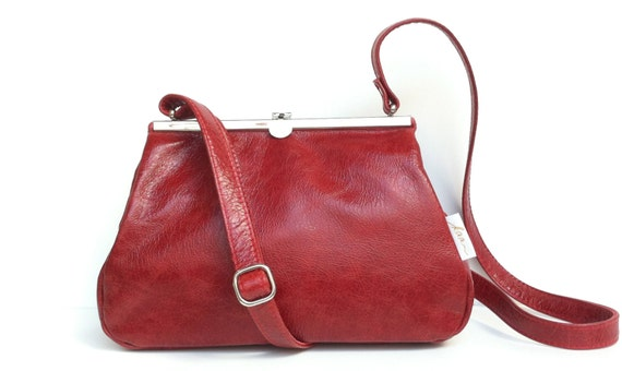 Leather bag , leather handbag , handbag red leather shoulder bag , bag with strap , handbag with snap