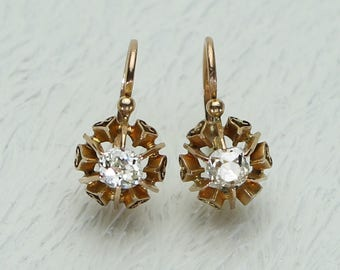 French Antique Diamond Drop Earrings