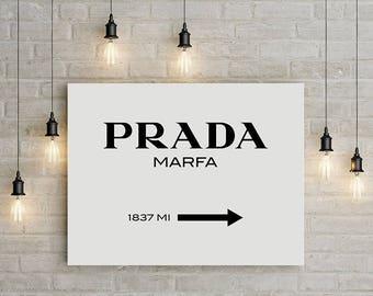prada marfa, fashion print, canvas art, large wall art, prada print, fashion illustration, canvas print, prada marfa canvas,