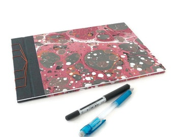 Large Stab Bound Guestbook, Journal or Sketchbook: Contemporary Printed Marbled Paper
