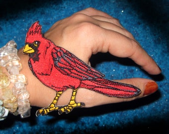 Northern Red Cardinal Bird Iron on Patch