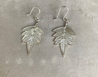 Sterling Silver Leaf earrings - nature inspiration - Author Jewelry