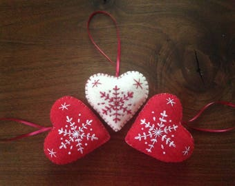 3 Christmas felt heart ornaments, red and white snowflake hearts, scandanavian Christmas ornaments, handmade embroidered heart ornaments
