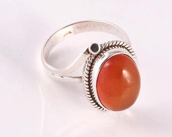 Carnelian 92.5 sterling silver ring size 7 us