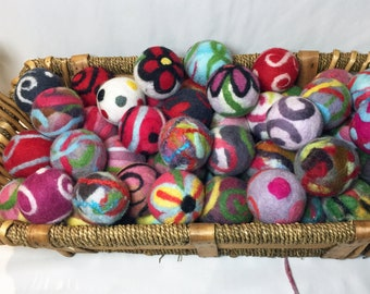 You Choose 6 Dryer Balls! Handmade Felted Dryer Balls - Decorative, Juggling Balls - Play Balls - Patterns: Flowers, Swirls, Multiple Colors