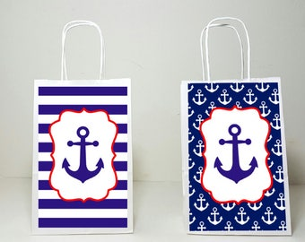 Anchor Goody Bags, Nautical Goody Bags, Nautical Favor Bags, Nautical Gift Bags