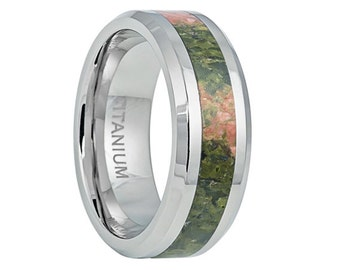 Titanium Wedding Band,Mens Wedding Band,Riverstone Inlay,Mens Ring,Custom Made,Rings,Bands,Riverstone Inlay Ring,8mm,Handmade,His Hers,Size