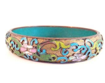 "Vintage Floral Cloisonne' Champleve' Bangle Bracelet - Asian Chinese Export - 2 1/2"" Inside x 5/8"" High - 1940"
