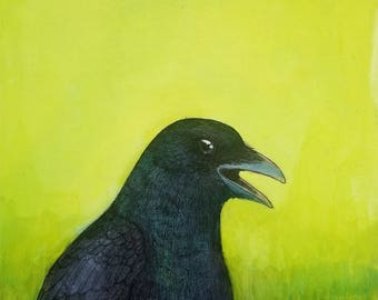 talkative crow portrait ORIGINAL mixed media art painting ink and paint on cradled birch board 8 x 8
