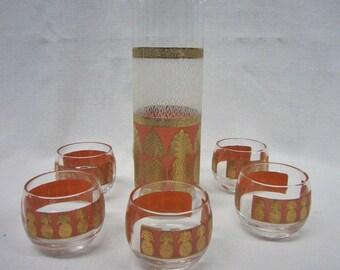Vintage Martini Shaker & Glasses, S/ 6