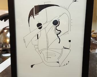 """Original Abstract Drawing """"Capitán"""" by Zach Ward 2018"""
