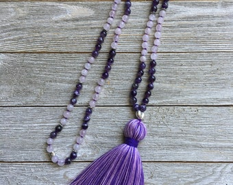 Amethyst and Rose Quartz Hand Knotted Mala - 108 Beads