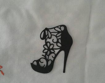 High heeled shoe - intricate die cut - flat colour cardstock - approx 8.7cm/3.4 inches x 7.6cm/3 inches
