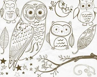 Owl Digital Stamp Outline, Cute Woodland Owl Line Art, PNG Doodle + Photoshop Brush, Owl Hand Embroidery Clip Art Pattern Download