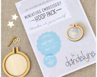 Miniature 4 cm embroidery hoop, DIY kit.  Dandelyne Embroidery Hoop UK