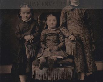 Antique Tintype Photograph . Civil War Era Portrait of Three Children . Digital Download . High Resolution Scan