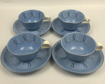 """Set of 4 VTG Cups and Saucers Homer Laughlin Skytone """"SEQUENCE"""" Pacific Blue Mid Century Modern 1950's Harmony House"""