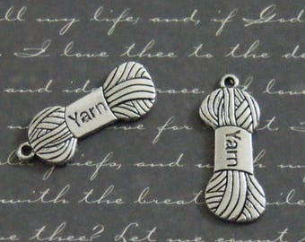 ball of yarn and 2 charms silver metal 13x32mm