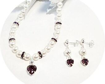 Purple Jewelry Set, Necklace, Earrings, Kids Jewelry, Deep Purple, Flower Girl Jewelry, February Birthstone, Pageant Jewelry, Heart Jewelry