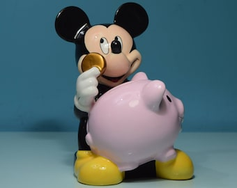 Disney Rare Mickey Mouse Coin Piggy Bank By Park Lane Assoc. Collectible - Never Used