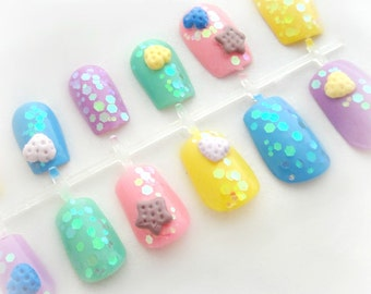 Pastel goth cookie 3D kawaii nails, Harajuku style nail art, sweet lolita nails