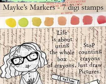 Mayke's Markers - 7 Digi stamps in jpg and png files