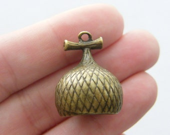 2 Acorn charms antique bronze tone BC282