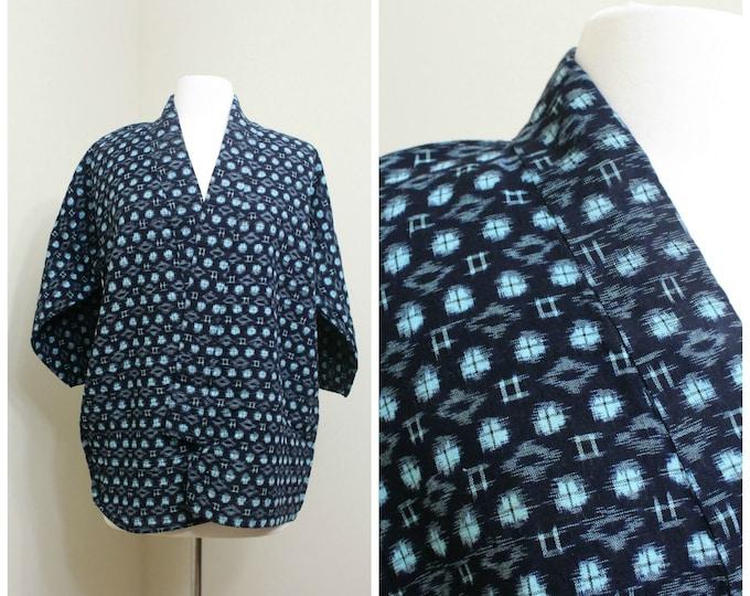 IKAT Haori Jacket. Vintage Japanese Indigo Kasuri Cotton Folk Noragi Peasant Clothing (Ref: 1367)