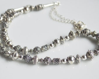 Sterling silver bali bead necklace silver necklace, bali bead jewelry, bali bead necklace