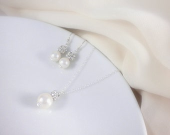 Pearl necklace and earrings set - bridal, wedding jewerly