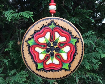 READY TO SHIP! - Gift Topper, Rustic Accent Decor, Christmas Ornament, Unique Handmade Wooden Ornament w/ Woodburned & Watercolored Motif