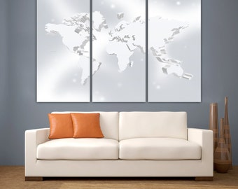 "3 Panel Split Silver color Art 3D World Map Canvas Print, 1.5"" deep frames, Triptych, art for home/office wall decor & interior design"