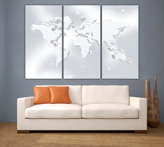 3 panel split silver color art 3d world map canvas print gumiabroncs Gallery