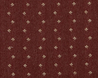 Rustic Red And Beige Mini Flowers Country Style Upholstery Fabric By The Yard | Pattern # C636