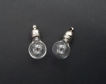 10prs Lightbulb Earring sets Silvertone Glass