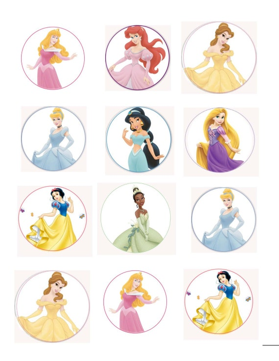 Disney Princess Edible Cup Cake Toppers with Phrases
