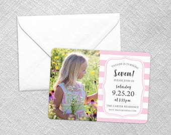 Birthday Stripes - Card - Save the Date - Includes Back Side Printing + Envelope