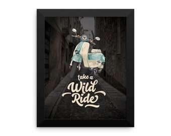 Retro Scooter Framed poster