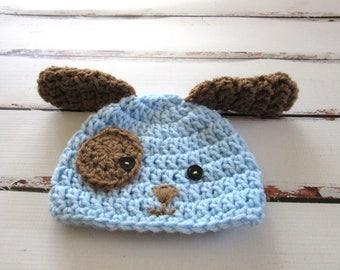 Newborn Puppy Dog Hat, Boy Baby Hat, Infant Halloween Hat, Baby Boy Dog Hat, Blue, Brown