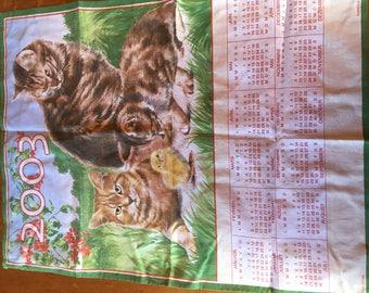 Old cloth napkin 2003 calendar cats occasion