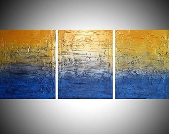 affordable triptych 3 panel canvas wall art silver gold metallic metal paintings on canvas impasto schilderijen painting sculpture 27 x 12 ""