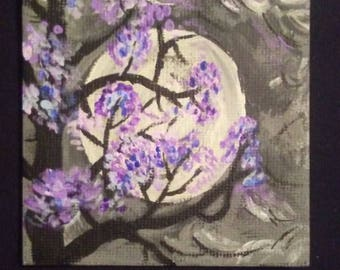 tree in the night on a mini canvas