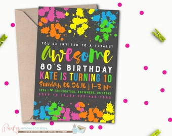 80s invitation 80s Party invitation 80s Birthday invitation