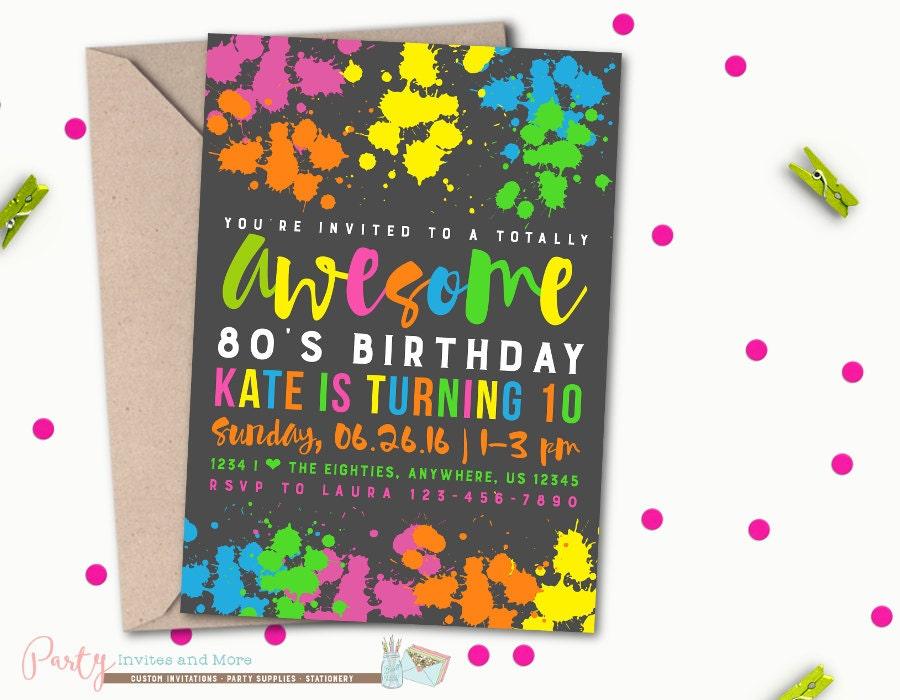 80\'s Birthday Invitation 80\'s Birthday Invitation
