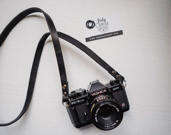 Tracolla in vero CUIO per fotocamere Mirrorless o Reflex SPEDIZIONE GRATIS - Camera Strap nera pelle leather vintage cinghia minimal