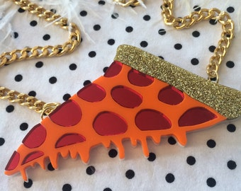 Drippy Pizza with Glitter Crust and Mirror Pepperoni Necklace, Laser Cut Acrylic, Plastic Jewelry