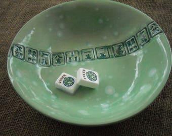 Mahjong Dish - Oriental Plate - Mahjongg Snack Dish - Oriental Dish - Mahjong Plate - Green Mahjong Dish - Mahjong Gift - Gift Idea