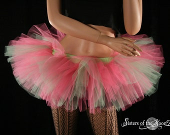 Adult tutu tulle skirt FairyTale Peek a boo mini pink green dance spring ballet costume rave club wear race event - You Choose Size - SOTMD